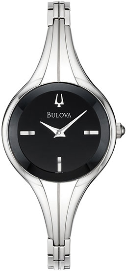 Bulova Stainless Steel Black Dial Bangle Style 96L119