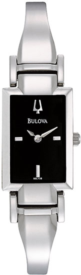 Bulova Stainless Steel Bangle Style Link Bracelet Quartz Dress Black Dial 96L138
