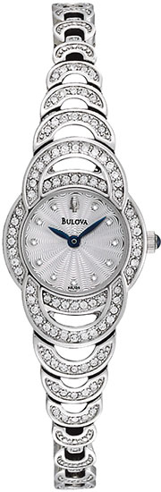Bulova Stainless Steel Dress Swarovski Crystal Crystal Bezel Links 96L139