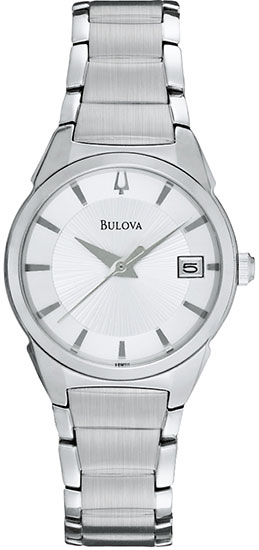 Bulova Stainless Steel Dress Silver Tone Dial 96M111
