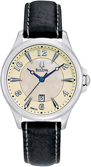 Bulova Stainless Steel Adventurer Mother Of Pearl Dial Leather Strap 96M114