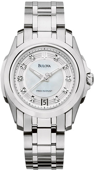 Bulova Stainless Steel Precisionist Longwood Quartz Mother Of Pearl Dial Diamonds 96P115