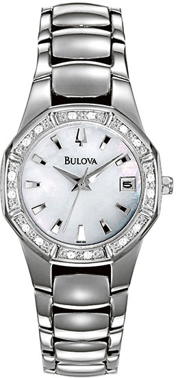 Bulova Stainless Steel Diamond Bracelet Mother of Pearl Dress Watch 96R102