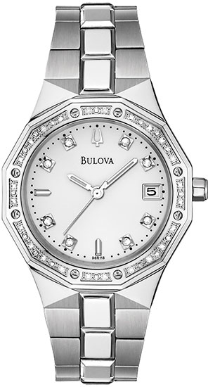 Bulova Stainless Steel White Dial Diamonds 96R118