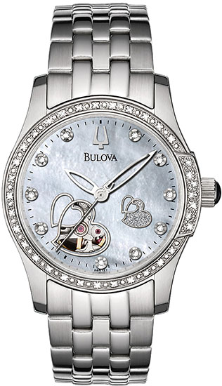 Bulova Stainless Steel Skeleton Automatic Mother of Pearl Dial Heart 96R122