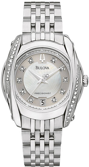 Bulova Stainless Steel Precisionist Tanglewood Quartz Mother Of Pearl Dial Diamonds 96R141