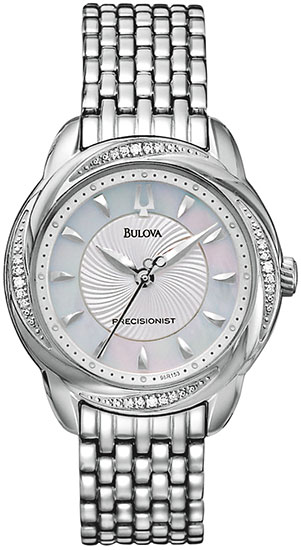 Bulova Precisionist Brightwater Quartz Mother Of Pearl Dial Diamonds Bezel 96R153