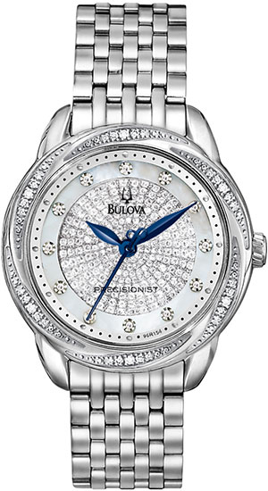 Bulova Precisionist Brightwater Quartz Diamond Dial Bezel Mother Of Pearl 96R154