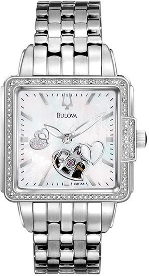 Bulova Heart Skeleton Display Automatic Mother of Pearl Dial Diamond Accents 96R155