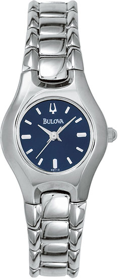 Bulova Stainless Steel Blue Dial Dress Watch 96T12