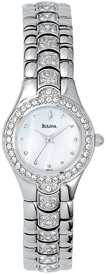 Bulova Stainless Steel Dress Mother Of Pearl Dial Crystals 96T14
