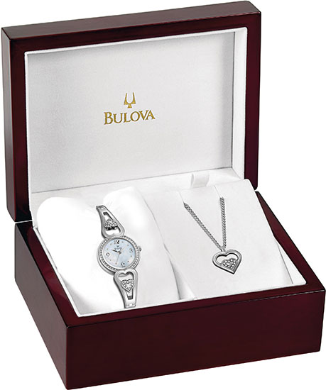 Bulova Stainless Steel Dress White Dial Crystal Links 96X006
