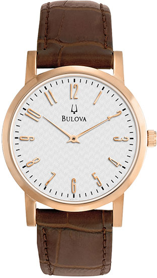 Bulova Rose Gold Tone Case White Dial Brown Leather Strap 97A106