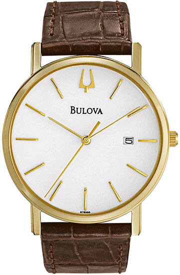 Bulova Gold Tone Leather Strap 97B100