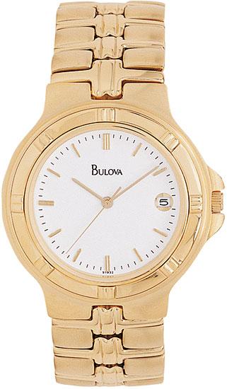 bulova 97b32 mens 18k gold stainless steel quartz