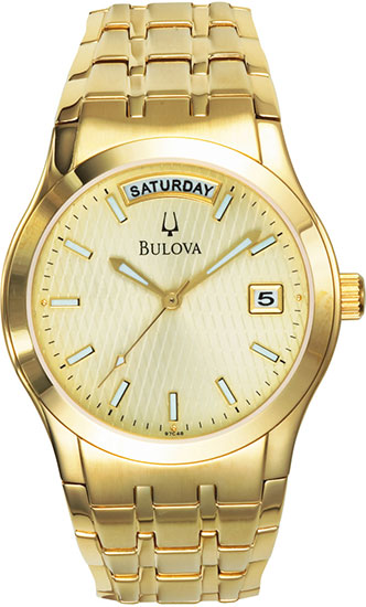 Bulova Gold Tone Stainless Steel Gold Dial 97C48