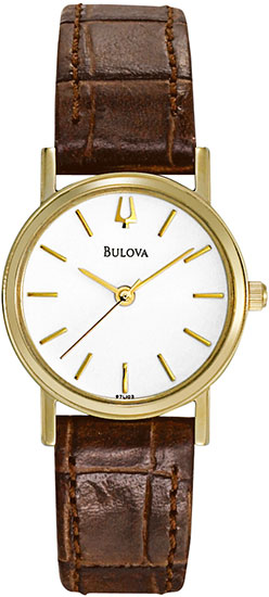 Bulova Gold Tone Stainless Steel Dress Brown Leather Strap 97L102