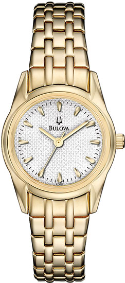 Bulova Gold Tone Stainless Steel White Dial 97L111
