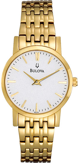 Bulova Gold Tone Stainless Steel Dress Quartz White Dial 97L116