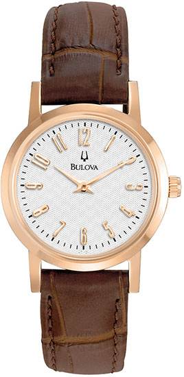 Bulova Rose Gold Tone Stainless Steel Case Quartz Brown Leather Strap White Dial 97L121