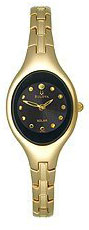 Bulova Gold Tone Stainless Steel Oval Shape Quartz Black Dial 97V31
