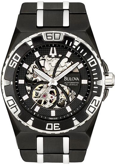 Bulova Black Stainless Steel Skeleton Display Automatic 98A108