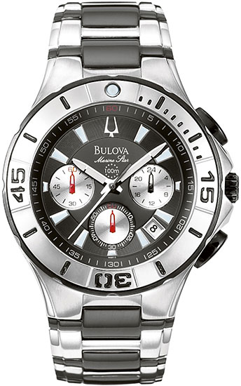 Bulova Stainless Steel Marine Star Chronograph Black Dial 98B013