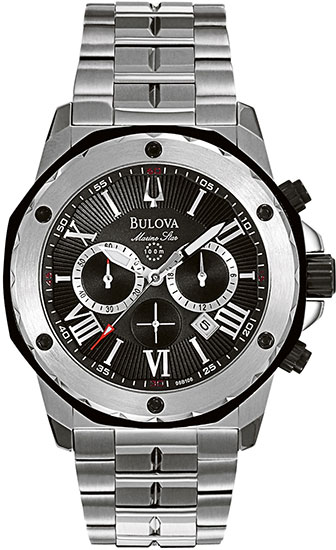 Bulova Stainless Steel Marine Star Chronograph Black Dial 98B106