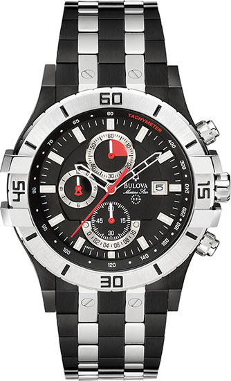 Bulova Black And Silver Tone Stainless Steel Marine Star Quartz Chronograph 98B117