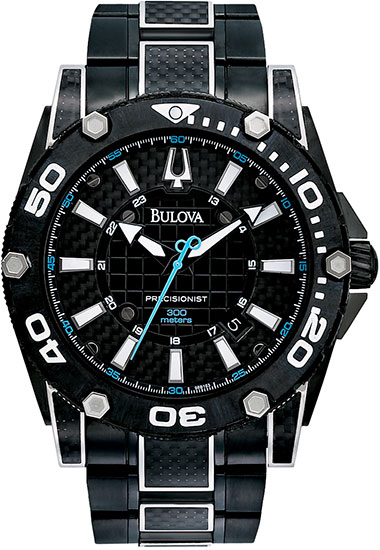 Bulova Black Precisionist Champlain Quartz Blue Accents 98B153