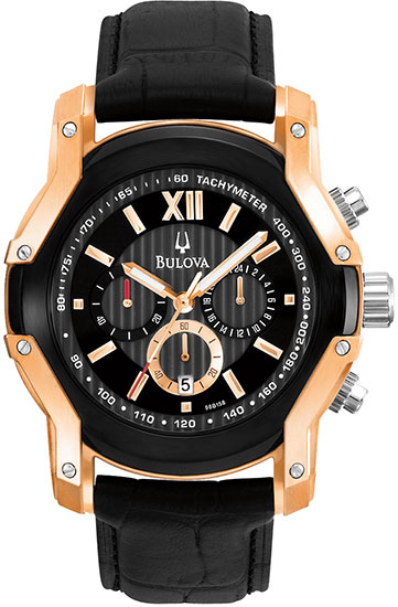 Bulova Stainless Steel Rose Gold Case Wintermoor Chronograph Black Dial Black Leather Strap 98B158