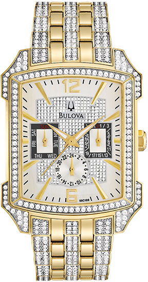 Bulova Gold Tone Stainless Steel Swarovski Crystal Case Links 98C109