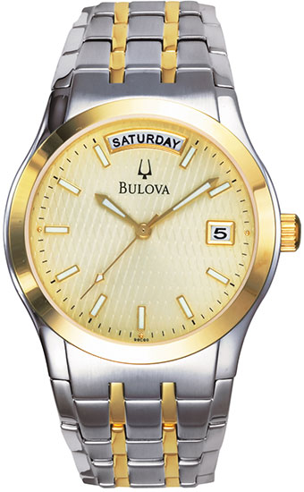 Bulova Two Tone Dress Champagne Dial Day Date 98C60