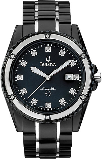Bulova Stainless Steel Marine Star Mother of Pearl Black Dial with Diamonds 98D107