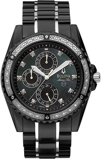 Bulova Stainless Steel Marine Star Mother of Pearl Black Dial with Diamonds 98000