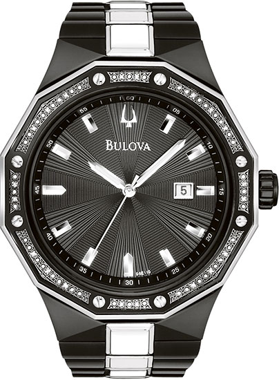 Bulova Black Stainless Steel Dress Black Patterned Dial Diamonds Quartz 9.8E+111