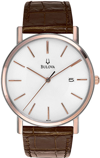 Bulova Gold Tone Stainless Steel White Dial Brown Leather Strap 98H51