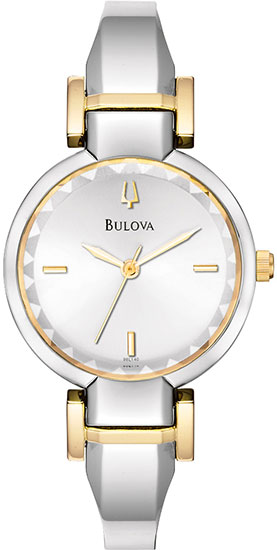Bulova Two Tone Stainless Steel Bangle Style Faceted Crystal 98L140