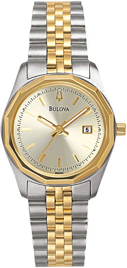 Bulova Two Tone Dress Watch Champagne Dial 98M000