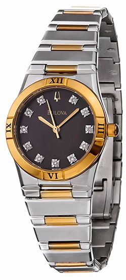 Bulova Two Stainless Steel Diamonds Black DIal 98P100