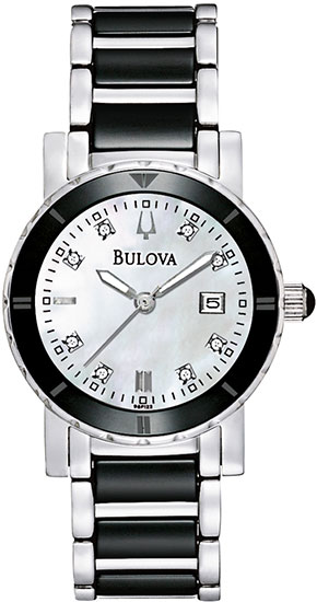 Bulova Black Ceramic And Stainless Steel Quartz Mother Of Pearl Diamonds 98P122