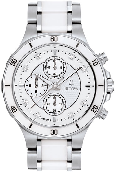 Bulova Stainless Steel and Ceramic Dress White Dial Diamonds Chronograph 98P125