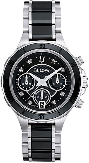 Bulova Stainless Steel and Black Ceramic Dress Diamonds Chronograph 98P126