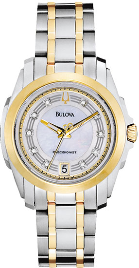 Bulova Two Tone Precisionist Longwood Quartz Mother Of Pearl Dial Diamonds 98P129