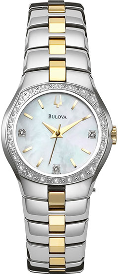 Bulova Two Tone Stainless Steel Dress Mother Of Pearl Dial Diamonds 98R008