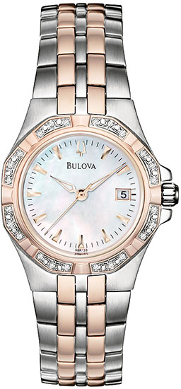 Bulova Rose Two Tone Stainless Steel Dress Mother of Pearl Dial Crystal 98R133