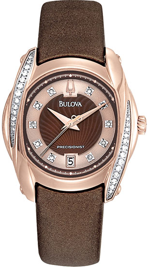Bulova Rose Precisionist Tanglewood Quartz Brown Mother Of Pearl Dial Diamonds 98R140