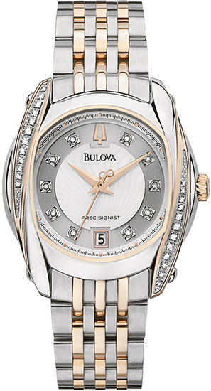 Bulova Two Tone Precisionist Tanglewood Quartz Mother Of Pearl Dial Diamonds 98R141