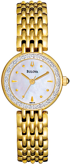 Bulova Gold Tone Stainless Steel Quartz Diamonds Mother Of Pearl Dial 98R148