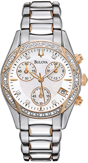 Bulova Gold Tone Stainless Steel Dress Diamonds Chronograph Strap 98R149